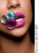 Closeup shot of full sexy woman lips with bright pink lipstick. copyspace... Стоковое фото, фотограф Zoonar.com/Svetlana Mandrikova (@Svetography) / easy Fotostock / Фотобанк Лори