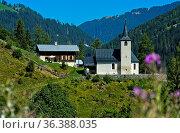 Reformierte Kirche Neukirch, Safiental, Graubünden, Schweiz / Protestant... Стоковое фото, фотограф Zoonar.com/Pant / easy Fotostock / Фотобанк Лори