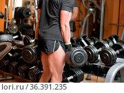 Closeup shot of unidentifiable muscular male picking up heavy dumbbell... Стоковое фото, фотограф Zoonar.com/DAVID HERRAEZ CALZADA / easy Fotostock / Фотобанк Лори
