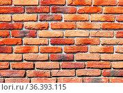 Old weathered red brick wall as background. Bricks masonry with seams. Стоковое фото, фотограф Zoonar.com/Alexander Blinov / easy Fotostock / Фотобанк Лори
