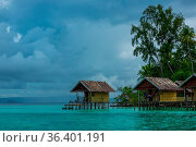 Indonesian islands. Cloudy evening. Coast of the ocean and the jungle... Стоковое фото, фотограф Zoonar.com/Mikhail Pavlov / easy Fotostock / Фотобанк Лори
