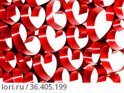 Red ribbons shaped as hearts on white background. Стоковое фото, фотограф Zoonar.com/Ivan Mikhaylov / easy Fotostock / Фотобанк Лори