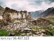 Old Empty Abandoned Village With Dilapidated Ruined Houses In Ketrisi... Стоковое фото, фотограф Ryhor Bruyeu / easy Fotostock / Фотобанк Лори