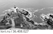 Aerial view in Black and White Portland Head Lighthouse State of Maine. Стоковое фото, фотограф Zoonar.com/Christopher Boswell / easy Fotostock / Фотобанк Лори