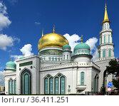 Famous Moscow Cathedral Mosque on Olimpiysky Avenue. Редакционное фото, фотограф Валерия Попова / Фотобанк Лори