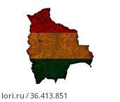 Karte und Fahne von Bolivien auf rostigem Metall - Map and flag of... Стоковое фото, фотограф Zoonar.com/lantapix / easy Fotostock / Фотобанк Лори