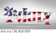 4th of July text and American flag 4k. Стоковое фото, агентство Wavebreak Media / Фотобанк Лори