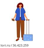 Girl tourist with suitcase and boarding pass flat contour vector illustration... Стоковое фото, фотограф Zoonar.com/Natalia Nesterenko / easy Fotostock / Фотобанк Лори