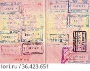 Travel background from Russian passport pages with visa stamps. Стоковое фото, фотограф Zoonar.com/Alexander Blinov / easy Fotostock / Фотобанк Лори