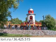 Детская игровая зона с маяком-горкой в Музейно-историческом парке «Остров фортов». Кронштадт. Санкт-Петербург. Редакционное фото, фотограф Румянцева Наталия / Фотобанк Лори