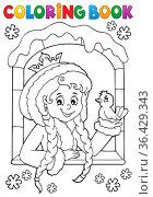 Coloring book princess in winter window - picture illustration. Стоковое фото, фотограф Zoonar.com/Klara Viskova / easy Fotostock / Фотобанк Лори