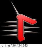 Runensymbol mit stacheln auf schwarzem hintergrund - 3d illustration. Стоковое фото, фотограф Zoonar.com/jörg röse-oberreich / easy Fotostock / Фотобанк Лори
