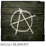 Anarchie-symbol auf bretterwand. Стоковое фото, фотограф Zoonar.com/jörg röse-oberreich / easy Fotostock / Фотобанк Лори