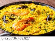 Seafood Spanish Paella on a Pan. High quality photo. Стоковое фото, фотограф Zoonar.com/Davide Illini / easy Fotostock / Фотобанк Лори