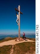 Summit cross on the Seceda, South Tyrol. Стоковое фото, фотограф Zoonar.com/Bernhard Klar / easy Fotostock / Фотобанк Лори