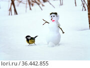 Spring story about the end of friendship of snowman and a chickadee... Стоковое фото, фотограф Zoonar.com/Maximilian Buzun / easy Fotostock / Фотобанк Лори