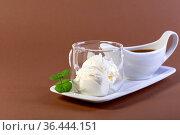 Affogato coffee with espresso and ice cream. Стоковое фото, фотограф Марина Сапрунова / Фотобанк Лори