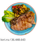 Pork steak with stewed vegetables. Стоковое фото, фотограф Яков Филимонов / Фотобанк Лори