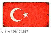 Vintage metal sign on a white background - Flag of Turkey. Стоковое фото, фотограф Zoonar.com/Boris Zerwann / easy Fotostock / Фотобанк Лори
