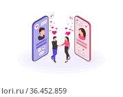Online dating isometric color vector illustration. Real world couple... Стоковое фото, фотограф Zoonar.com/Natalia Nesterenko / easy Fotostock / Фотобанк Лори