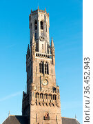 Detail of the Belfort van Bruges in the Grote Markt in the city centre... Стоковое фото, фотограф Zoonar.com/Yuri Dmitrienko / easy Fotostock / Фотобанк Лори