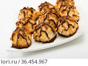 Coconut cookies with chocolate glaze. Стоковое фото, фотограф Яков Филимонов / Фотобанк Лори