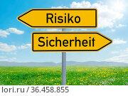 Two direction signs - Risk or Safety - Risiko oder Sicherheit (german) Стоковое фото, фотограф Zoonar.com/Boris Zerwann / easy Fotostock / Фотобанк Лори