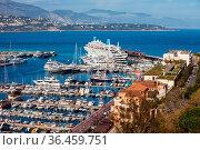 Monaco principality, yachts and boats at Port Hercule on Mediterranean... Стоковое фото, фотограф Zoonar.com/Artur Bogacki / easy Fotostock / Фотобанк Лори