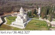 Bodbe Monastery of St. Nino. View from above. Kakheti. Georgia. Стоковое видео, видеограф Яков Филимонов / Фотобанк Лори