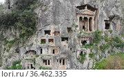 Lycian Rock Tombs. Fethiye. Turkey. View from above. Стоковое видео, видеограф Яков Филимонов / Фотобанк Лори