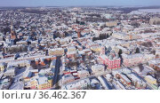 Aerial view of the Transfiguration church. Yelets city. Russia. Стоковое видео, видеограф Яков Филимонов / Фотобанк Лори