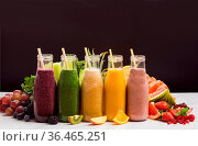The set of multicolored smoothies with tubes in glasses that are stand... Стоковое фото, фотограф Zoonar.com/OKSANA SHUFRYCH / easy Fotostock / Фотобанк Лори