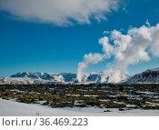 Der aufsteigende Dampf von einem Thermalkraftwerk. Foto vom April... Стоковое фото, фотограф Zoonar.com/Christian Länger / easy Fotostock / Фотобанк Лори