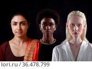 Caucasian woman, african american woman and indian women portrait... Стоковое фото, фотограф Zoonar.com/Max / easy Fotostock / Фотобанк Лори