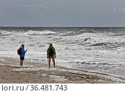 Paar am Strand an der Meeresbrandung, Nordsee, Westkueste Hoernum... Стоковое фото, фотограф Zoonar.com/Stefan Ziese / age Fotostock / Фотобанк Лори