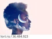 African american black woman profile silhouette portrait with moon... Стоковое фото, фотограф Zoonar.com/Max / easy Fotostock / Фотобанк Лори