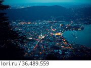 Top view of the night city of Como, Italy. Mountains, port and bay. Стоковое фото, фотограф Zoonar.com/Max / easy Fotostock / Фотобанк Лори