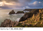 Kynance Cove at high tide in late evening light, eastern side of Mount's Bay, The Lizard peninsula, West Cornwall, UK. December 2020. Стоковое фото, фотограф Ross Hoddinott / Nature Picture Library / Фотобанк Лори