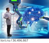 Brain surgery done by robotic arm. Стоковое фото, фотограф Elnur / Фотобанк Лори