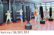 Boxing instructor and young preteen children practicing blows on the punching bags during training at gym. Стоковое видео, видеограф Яков Филимонов / Фотобанк Лори