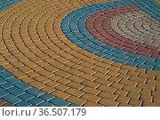 Color patterns are paved a sidewalk tile. Стоковое фото, фотограф Zoonar.com/Roman Ivashchenko / easy Fotostock / Фотобанк Лори