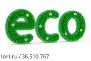 The volume inscription ECO covered with grass and flowers. 3d render. Стоковое фото, фотограф Zoonar.com/Roman Ivashchenko / easy Fotostock / Фотобанк Лори