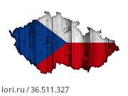 Karte und Fahne von Tschechien auf verwittertem Holz - Map and flag... Стоковое фото, фотограф Zoonar.com/lantapix, / easy Fotostock / Фотобанк Лори