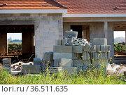 New house under construction with concrete cellulare. Стоковое фото, фотограф Zoonar.com/Morad HEGUI / easy Fotostock / Фотобанк Лори