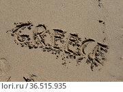 Greece, griechenland, sand, strand, sandstrand, schrift, urlaub, ferien... Стоковое фото, фотограф Zoonar.com/Volker Rauch / easy Fotostock / Фотобанк Лори