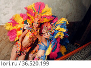 Woman in brazilian samba carnival costume with colorful feathers plumage... Стоковое фото, фотограф Zoonar.com/Max / easy Fotostock / Фотобанк Лори