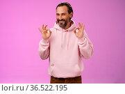 Devious tricky good-looking happy mature man 50s bearded grey hair... Стоковое фото, фотограф Zoonar.com/Seva Levytskyi / easy Fotostock / Фотобанк Лори