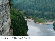 Mountain river among wooded banks, view from the top of the cliff, the Usva river in the Perm Krai, Russia. Стоковое фото, фотограф Евгений Харитонов / Фотобанк Лори