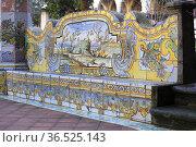 Decorations at the Santa Chiara Cloister in Naples, Italy. Стоковое фото, фотограф Massimo Pizzotti / age Fotostock / Фотобанк Лори