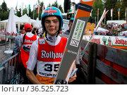 David Siegel (SV Baiersbronn) hat nach der Qualifikation FIS Sommer... Стоковое фото, фотограф Zoonar.com/Joachim Hahne / age Fotostock / Фотобанк Лори
